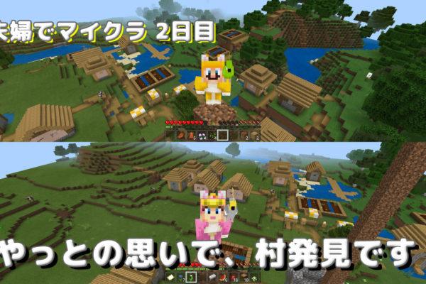 【夫婦でマイクラ日記 2日目】歩いて歩いて、村発見!!